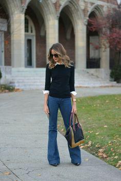 Идея образа: 10 нарядов с джинсами-клеш 3