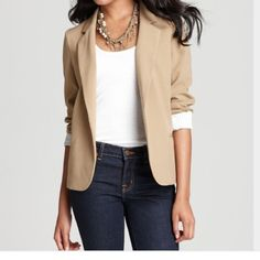 Aqua Blazer NWT Aqua beige blazer. Actual color is a lighter beige pictures in stock photos. My photos the color looks darker than it is. Cute roll up sleeves with striped interior. Aqua Jackets & Coats Blazers