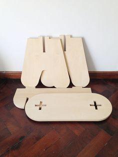no screws + no glue 4 pieces mini bench / cnc MDF