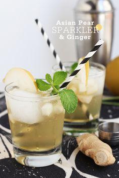 Asian Pear & Ginger Sparkler - Vodka or Pear Vodka, Lemon Juice, Asian Pear, Ginger Ale, Ginger Syrup (Recipe), Mint.