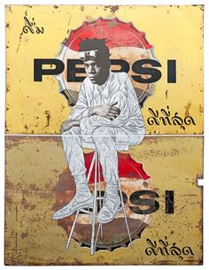 Pakpoom Silaphan - Basquiat Sits on Double Pepsi, 2011 Mixed media on vintage metal signs...creative silence™ {inspiration}: Photo