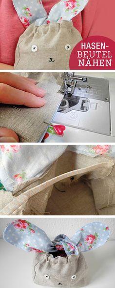 DIY-Anleitung: Geschenkbeutel für Ostern nähen / diy tutorial: sew a bunny bag for easter via DaWanda.com
