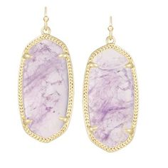 "The bright, delicate beauty of our natural Amethyst stone brings a fresh pop of color to the season's palette in these classic Elle Earrings. - 14K Gold Plated Over Brass - Size: 1.44""L x 0.69""W on ea"