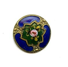 SPECTACULAR-ANTIQUE-FRENCH-ENAMEL-button-ROSE-LOTS-of-COLORS-GREEN-COBALT