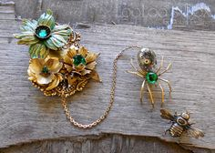 SPIDER & Fly BROOCH Pin Steampunk Victorian Floral by LooLoosBox, $119.00