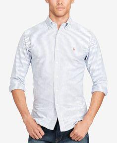 c5d36e2d Polo Ralph Lauren Men's Stretch Slim-Fit Striped Oxford Shirt & Reviews -  Casual Button-Down Shirts - Men - Macy's