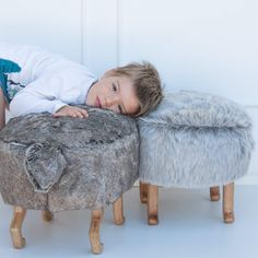 Wild rabbit and silver wolf kids design chair puff