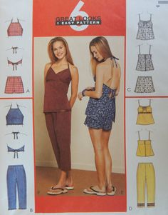 Tops, Capri and Shorts Sewing Pattern/ McCall's 2757/ Misses Size 12-14-16/ semi fitted,halter top/elastic back,side closure capri/ Uncut