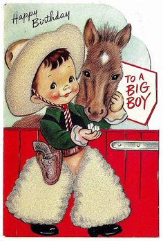 vintage birthday cowboy card