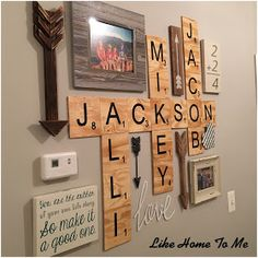13 Nice Family Wall Decor Ideas for Your Home Adornment Family Wall Decor, Letter Wall Decor, Kids Wall Decor, Letter Art, My Living Room, Living Room Decor, Scrabble Wall Art, Scrabble Tiles, Scrabble Board