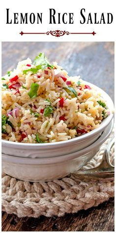 Lemon Rice Salad can be converted from a side salad to an easy dinner by simply adding cooked chicken to this already delicious dish. via @https://www.pinterest.com/BunnysWarmOven/bunnys-warm-oven/