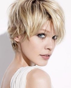 Obviously needs to sown in brunette as well!  Recommend this cut for those who are craving short hair but want to keep it feminine.  Having wavy to straight hair helps when it comes to styling a look like this. When well executed there can really be no work involved!  Add a little color (highs or lows) and you bring this cut to another LEVEL!...literally! - Lauren @ #VarinSalon