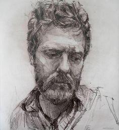 Colin Davidson - Glen Hansard (Drawing) crayon on paper 62 x 57 cm