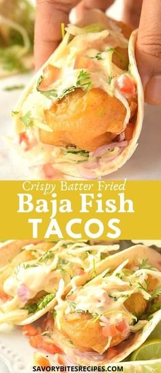 Try this ultimate crispy Baja Taco (Best crispy battered fish tacos), an amazing combination of crispy fried fish,served in a cozy warm tortilla with pickled cabbage slaw,pico de gallo and flavorful chipotle crema.If you love Mexican fish tacos the Baja Fish Tacos Sauce, Mexican Fish Tacos, Baja Fish Taco Recipe, Slaw For Fish Tacos, Cod Fish Tacos, Fish Tacos With Cabbage, Fried Fish Tacos, Easy Fish Tacos, Baja Sauce