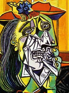 Weeping Woman by Pablo Picasso. A cubist piece from the most well known cubist, Picasso. This painting is a reference to one of the figures in Guernica, in which she cradles her dead child. Portrait Picasso, Art Picasso, Picasso Paintings, Cubist Portraits, Oil Paintings, Pablo Picasso Artwork, Picasso Prints, Picasso Guernica, Art Projects