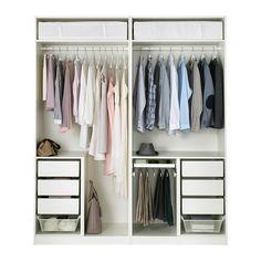 PAX Kleiderschrank, weiß, Bergsbo Frostglas 200x60x236 cm Scharnier, sanft schließend