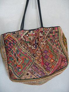 Mirror embroidered embellished boho bag