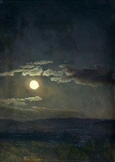 thevictorianduchess:  Cloud Study, Moonlight Albert Bierstadt Oil on canvas c. 1860