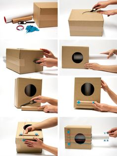 Easy DIY Cardboard Guitar to make with the kids! Music Instruments Diy, Instrument Craft, Homemade Musical Instruments, School Projects, Projects For Kids, Diy For Kids, Crafts For Kids, Guitar Crafts, Music Crafts