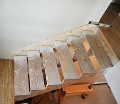 What is a pretty skirt without a finished hem? We are smack dab in the middle of dressing up these stairs (the treads are still the construction set and I'll share how we finished out the risers soon), starting first by adding a skirt to the stairs. Stairs Skirting, Stairs Trim, Redo Stairs, Basement Stairs, Stair Redo, Diy Stair, House Stairs, Basement Ideas, Stairs Without Skirt