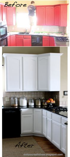 Yet another white cabinet transformation. DIY: How to Paint Over Red Painted Cabinets/Walls