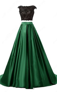 Green Ball Gown Scoop Neck Lace Satin Sweep Train Open Back Two Piece Long Prom Dress