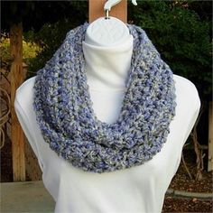 Light Gray, Purple, Blue, and Pale Green INFINITY LOOP COWL SCARF   Extra Soft, Warm, Bulky, and Cozy Gray  Lavender Infinity Scarf hand-crocheted with a high quality acrylic yarn. Because of the cuddly softness, the scarf is incredibly comfortable and feels wonderful against the skin.   Country Loom yarn is made to mimic homespun yarn with its wild  crazy loosely spun wavy strands that create a really beautiful and unique texture. As the yarn name suggests, Country Loom is meant to look a…