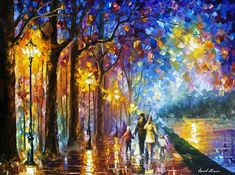 "Family By The Lake — ( Father, Mom, Children) Landscape Oil Painting On Canvas By Leonid Afremov. Size: 40"" X 30"" Inches (100 cm x 75 cm)"