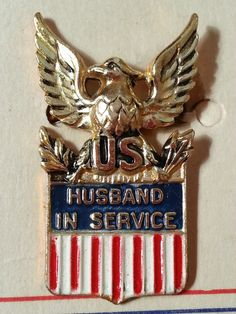 NOS WWII Husband In Service Sterling Pin by Coro on Card - Sweetheart Brooch - New Old Stock