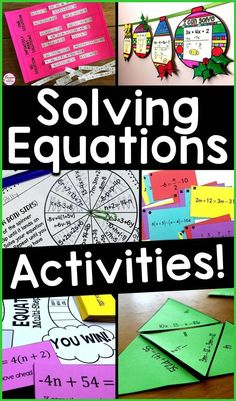A roundup of solving equations activities including math pennants, puzzles, games and sorting activity. Lots of ideas for solving equations in Algebra and grade math. Algebra Games, Algebra Activities, High School Activities, Teaching Math, Math Games, Fun Activities, Math Teacher, Algebra Projects, Teaching Ideas