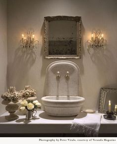 "Pam Pierce design via ""An antique mirror with a decorative frame makes this powder room a luxury and private space"". French Country Living Room, French Country Decorating, French Decor, Decor Inspiration, Bathroom Inspiration, Bathroom Ideas, Stone Basin, Minimalist Bedroom, Bath Design"