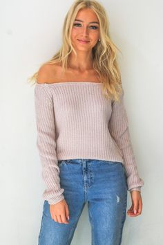 Katie Off the Shoulder Blush Sweater