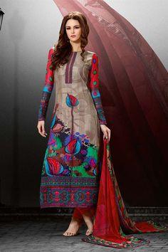 Gleaming Cream Color Pakistani Salwar Suit