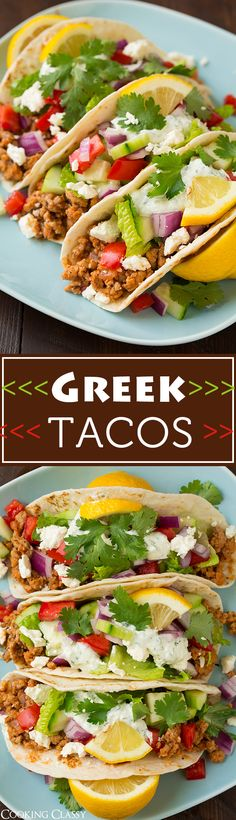 Greek Turkey Taco - they're just like a simplified chicken gyro. So delicious and packed with healthy ingredients!