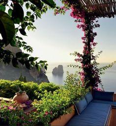 Romantic balcony with flower trelis
