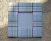 Cottage Plaid Frame. Blue, Green and Brown. Perfect for nurseries or simple clean cottage decor.