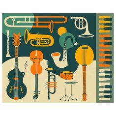 Jazzberry Blue All That Jazz Music A2 Unframed Print: All That Jazz Music. Jazz inspired print. By Jazzberry Blue.