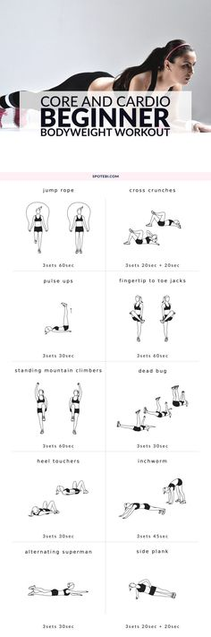 Boost your metabolism, trim your midsection and improve your fitness level with this core and cardio beginner bodyweight workout. 10 different exercises to target your core and burn body fat. www.spotebi.com/... #girlfriend