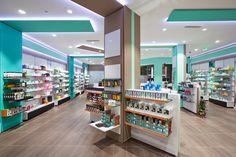 σχεδιασμός επίπλων φαρμακείου Display Design, Booth Design, Display Ideas, Pharmacy Store, Drug Store, Retail Store Design, Retail Shop, Vintage Thrift Stores, Pharmacy Design