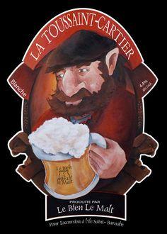 La bière Toussaint-Cartier, disponible à la brasserie Le Bien, le Malt à Rimouski. Elle fut créée en l'honneur du légendaire ermite de l'île Saint-Barnabé!  www.tourisme-rimouski.org