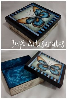 . Decoupage Vintage, Decoupage Box, Tole Painting, Painting On Wood, Driftwood Stain, Paper Crafts Magazine, Painted Wooden Boxes, Wood Storage Box, Altered Boxes