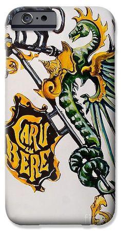 Shop Sign IPhone 6s Case featuring the painting Caru Cu Bere - Antique Shop Sign by Dora Hathazi Mendes  #dragon #cat #shopsign #antique #wroughtiron #dorahathazi #bucharest #iphone