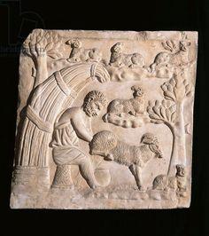 Relief portraying shepherd milking a goat - Museo della Civilta Romana, Rome, Italy