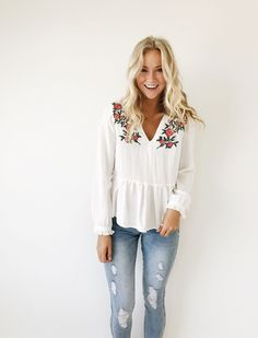 Embroidered Long Sleeve Peplum | ROOLEE