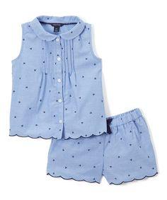 Loving this Blue Polka Dot Button-Up & Shorts - Infant, Toddler & Girls on Frocks For Girls, Girls Dresses, Little Girl Outfits, Kids Outfits, Short Niña, Frock Patterns, Kids Nightwear, Kids Pjs, Baby Boy Dress