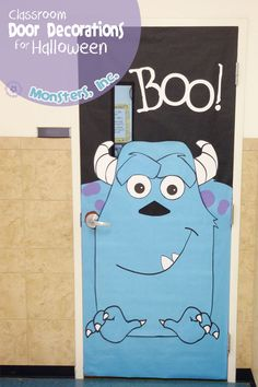 Fun classroom door decorations for Halloween. This monstrously fun door is transformed into Sully from Monsters, Inc. Disney Halloween, Minion Halloween, Halloween Zombie, Easy Halloween, Sully Halloween, Halloween Classroom Decorations, Halloween Door Decorations, Candy Corn, Monsters Inc Doors
