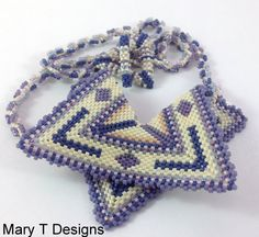 Five Point Beadwoven Pendant Necklace...EBW Team by MaryTDesigns
