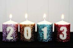 DIY glitter year candles :)