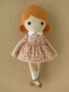 Fabric Doll Rag Doll Girl in Pink Calico Dress via Etsy