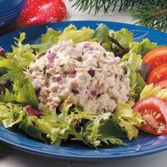 Herbed Tuna Salad is yummy alternative to the traditional tuna salad. It's best on a bed of lettuce.